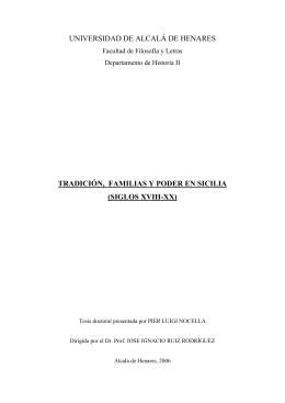 Tradición, familias y poder en Sicilia (siglos XVIII-XX)