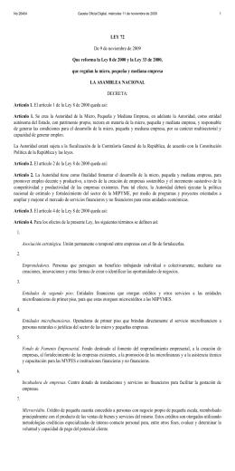 LEY 72 De 9 de noviembre de 2009 Que reforma la Ley 8