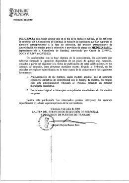 Conselleria de Sanitat - Generalitat Valenciana