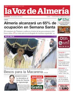 Almería alcanzará un 65% de ocupación en Semana Santa
