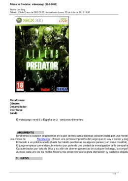 Aliens vs Predator, videojuego (19/2/2010)