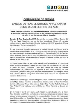 comunicado de prensa cancun obtiene el crystal apple award como
