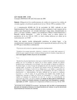 LEY 546 DE 1999 – UVR Concepto 2005058241