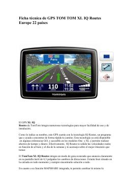 Ficha técnica de GPS TOM TOM XL IQ Routes
