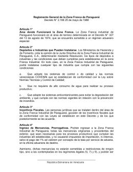 Reglamento General de la Zona Franca de Paraguaná