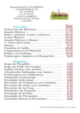 carta restaurante - restaurante los dolmenes ii