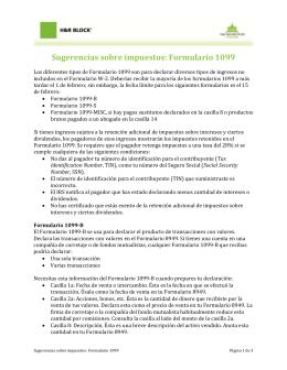 Sugerencias sobre impuestos: Formulario 1099