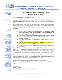 Sixth & Eighth Grade Scholarship Letter Deadline April 15, 2013