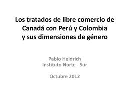 Los tratados de libre comercio de Canadá con Perú y Colombia y