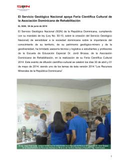 El Servicio Geológico Nacional apoya Feria Científica Cultural de la