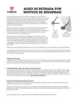 AVISO DE RETIRADA POR MOTIVOS DE SEGURIDAD