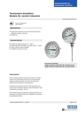 Termómetro bimetálico Modelo 52, versión industrial