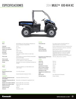 ESPECIFICACIONES MULE™ 610 4X4 XC 2014