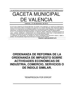 GACETA MUNICIPAL DE VALENCIA