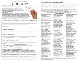 Locales, horarios y números de bibliotecas