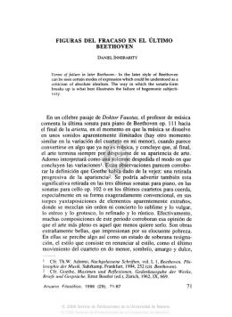 FIGURAS DEL FRACASO EN EL ÚLTIMO BEETHOVEN En