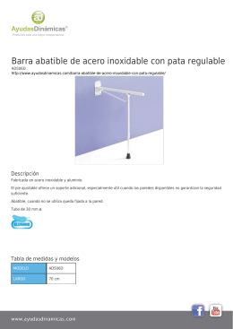 Barra abatible de acero inoxidable con pata regulable