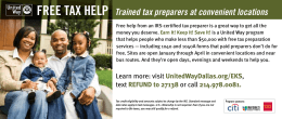 FREE TAX HELP Trained tax preparers at convenient locations