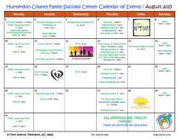 Hunterdon County Family Success Center Calendar of Events