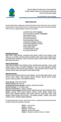 SESIÓN ORDINARIA 86 - Sitio de la Municipalidad de San José