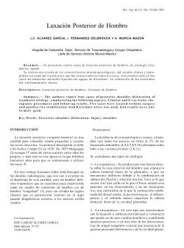 Luxación Posterior de Hombro - Revista Cirugía Osteoarticular