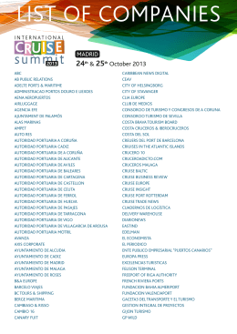 LIST OF COMPANIES - International Cruise Summit 2015