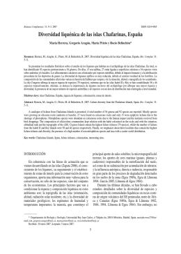 Diversidad Liquénica de las Islas Chafarinas, España.