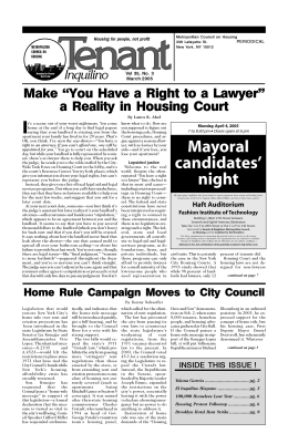 Feb 2005 Tenant - Metropolitan Council on Housing