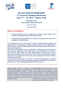 EU-LAC HEALTH WORKSHOP 2nd Scenario Building Workshop
