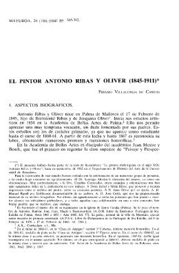 """EL PINTOR ANTONIO RIBAS Y OLIVER (1845-1911)"""""""