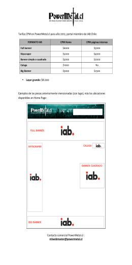 Tarifas CPM en PowerMetal.cl para año 2012, portal miembro de