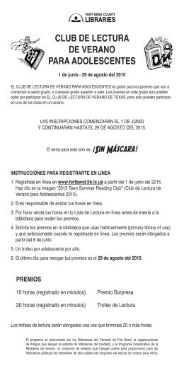 CLUB DE LECTURA DE VERANO PARA ADOLESCENTES