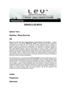 SÁBADO 2 DE MAYO Aphex Twin Rephlex / Warp Records UK