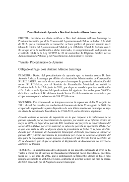 Procedimiento de Apremio a Don José Antonio Aldecoa Luzarraga