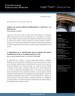 Legal Flash I Oficina de París Novedades en el ámbito laboral