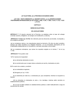 LEY ELECTORAL de la PROVINCIA DE BUENOS AIRES LEY 5109