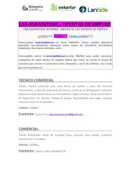 LAN-ESKAINTZAK / OFERTAS DE EMPLEO