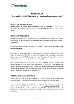 """BASES SORTEO """"Con Nestlé y CLUB FAMILIA ahorra y consigue"""
