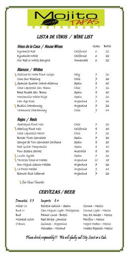 lista de vinos lista de vinos / / / wine list wine list wine list cervezas