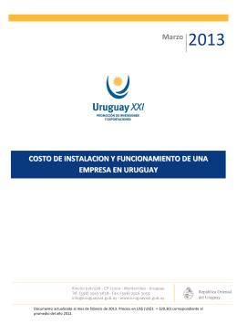 Marzo 2013 COSTO DE INSTALACION Y FUNCIONAMIENTO DE