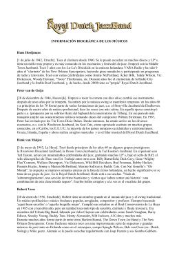INFORMACIÓN BIOGRÁFICA DE LOS MÚSICOS Hans Hooijmans