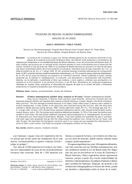 Picadura de medusa Olindias sambaquiensis: Análisis de 49 casos