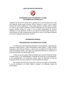 Calendario Sorteos 2014 - Junta de Protección Social