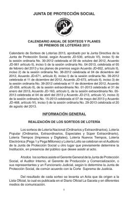 Calendario Sorteos 2013 - Junta de Protección Social