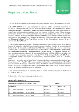 Reglamento Mono Bingo 1 - Caja Social de Santiago del Estero