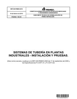 SISTEMAS DE TUBERÍA EN PLANTAS INDUSTRIALES
