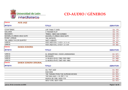 CD-AUDIO / GÉNEROS