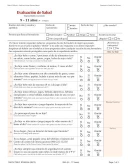 DHCS-Evaluación de Salud (9-11 años)