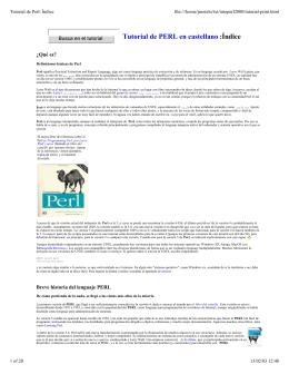Tutorial de PERL en castellano :Índice - TLDP
