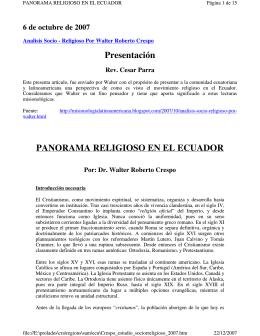 Panorama Religioso en El Ecuador, 2007